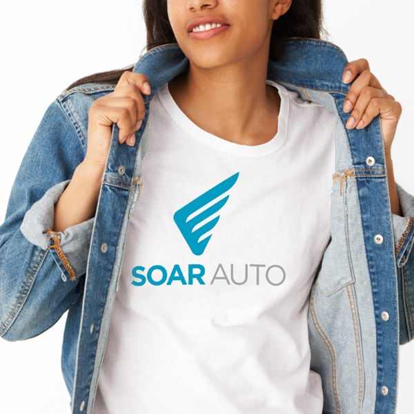 Soar Auto Logo design on a t-shirt